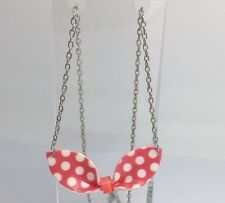 Pink And White Polka Dot Polkadot  Bow Pendant Necklace F115 Cute Rockabilly
