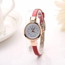 Ladies Rose Gold White Dial Quartz Red Slim Leather Band Wrist Watch.
