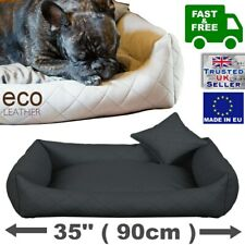 Delux ECO-LEATHER Comfy Dog bed Sofa Bed  Extra LARGE 35'' x 30'' (90 x 75 cm)