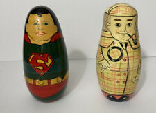 Nesting Dolls, wood,hand-painted, 2 modern sets: Super Heroes & Sherlock Holmes