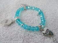 Kirks Folly Designer Jewelry Bracelet Blue W/Charms Beads Stretch Bracelet
