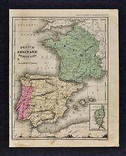 1882 Wells Map - France Spain Portugal Paris Madrid Barcelona Lisbon Ibiza Palma