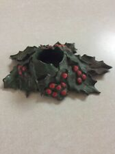Vtg Christmas Holly Candle Holder Cast Metal Heavy Big Pat 5 17 21 Leaves Guc