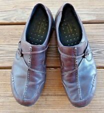 Clarks Size 9.5 Wave Women's Slip On Walking Comfort Clogs Brown Leather Shoes