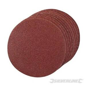 Silverline 10pc Hook And Loop Plain Sanding Discs ( choose size and grit)