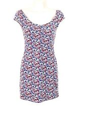H&M Divided Womens Bodycon Dress Sz 4 Pink White Blue Floral Cap Sleeves Cotton