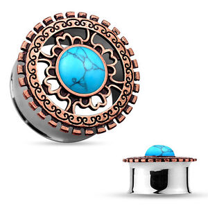 PAIR Bronze Plated Shield w/Turquoise Center Double Flare Steel Tunnels Plugs