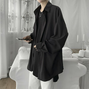 Chic Men Front Shirt Lapel Collar Long Sleeves Casual Loose Outwear Coat Buttons