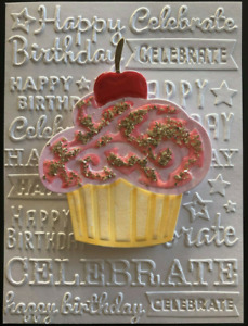 Happy BIRTHDAY Words Embossing Folder & CUPCAKE & CANDLES DIES Set - Darice