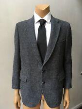 Harris Tweed Retro Vintage Men's Wool Black Gray Jacket Sports Coat Size 42R