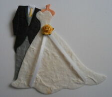 PK 2 FORMAL TAILS SUIT BRIDE & GROOM YELLOW ROSE EMBELLISHMENTS FOR CARDS/CRAFTS