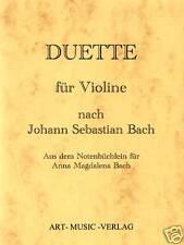NOTEN GEIGE/VIOLINE DUETTE NACH  J.S. BACH