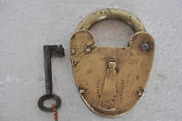 Rare Old Big British VR Crown Patent Brass Pad Lock,Original Key