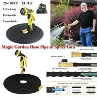 Rubber Retractable Black 25-100FT Magic Garden Hose Pipe Extra Long Spray Gun