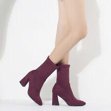 Womens Faux Suede Block High Heel Mid Calf Boots Shoes AU Plus Size 2-11