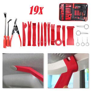 19 Pcs Car Trim Removal Pry Tool Molding Kit Panel Door Dash Interior Clip Set
