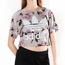 Cotton Blend Crew Neck Cropped Floral T-Shirts for Women