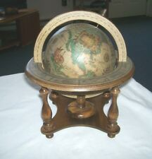 Olde World Desk Top Table Top Spinning Globe w/Zodiac Wood Stand - Japan