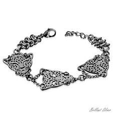 Damen Herren Armband Kettenarmband Filigran Tiger Katze Edelstahl Silber