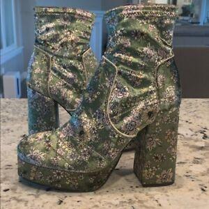$228 Free People Smyth Platform Boots Green Combo  6 7 8 9 10 NIB New Tall Heel