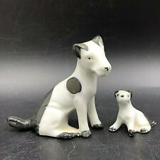 Vintage Ceramic Miniature Black White Jack Russell Terrier Dog Mother Puppy