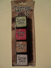 TIM Holtz Distress Ink MINI PACK KIT # 11 tdpk40415 NUOVO con confezione 4, Mini ink PADS * LOOK *