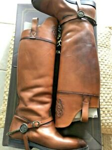ALBERTO FASCIANI HAND MADE LEATHER BOOTS BROWN SZ 39EU MADE IN ITALY