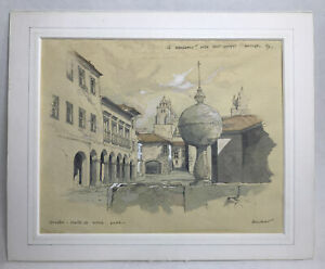 John Hambleton Holdcroft Ink And Watercolour Painting Portugal 92 Signed Mounted