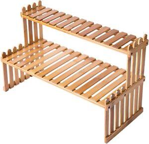 MyGift Tabletop Natural Bamboo Plant Stand, 2 Tier Desktop Shelf Rack