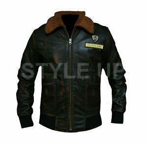 Nick Jones Jumanji Alex Stylish Distressed Casual Bomber Biker Leather Jacket