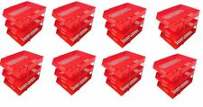 24 RED A4 Letter Filing In Out Desk Trays + 16 Risers Stacking Paper Office