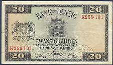 POLAND,GERMANY, DANZIG / GDANSK 20 GULDEN 1937  P.63