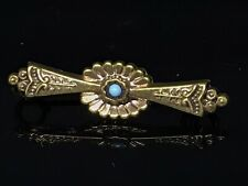 New listing Vintage Edwardian Gold Tone Pin Brooch Bar Etruscan Style Faux Turquoise
