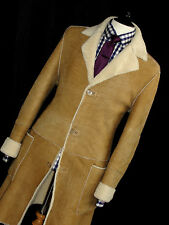 LUXURY MENS VERSACE COUTURE SHEARLING SHEEPSKIN LEATHER OVERCOAT JACKET COAT 42R