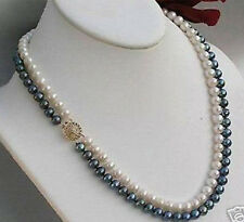 2rows 7-8mm black white freshwater Cultivation pearl necklace 17-18""