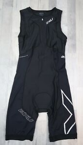 Mens 2XU Triathalon Skinsuit Tri Suit Skinsuit Cycling Large Black ice x