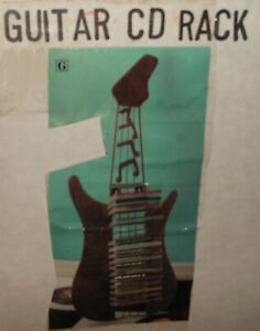 """GUITAR SHAPED CD RACK HOLDS 18 DISCS HANG OR STAND 30"""" H 20"""" W  METAL NEW IN BOX"""