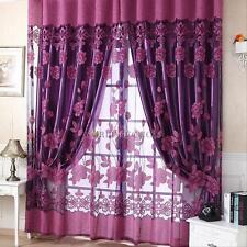 Modern Window Curtain Voile Net Single Tulle Door Panel Plain Floral Flocked