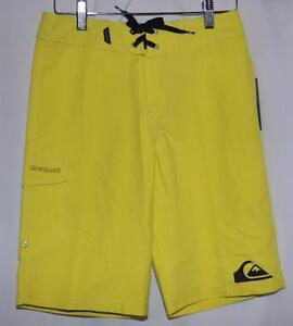 Quiksilver Neon Yellow Swim Trunks Beach Surf Board Shorts Youth Boys 26 NWT