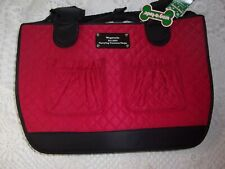 Red Black Quilted Wagatude Pet Carrier Dog Cat Travel new tote purse