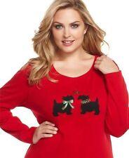 Karen Scott Top Scottie Dog Sz Small Red Christmas Holidays Embroidered Scotty