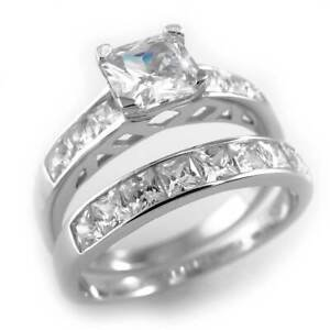 18k White Gold Wedding Band Princess Cut CZ .925 Sterling Silver Women's Ring