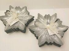 x8 Akcam Iridescent Pearl Snowflake Glass Plate Set Appetizer Dessert Christmas