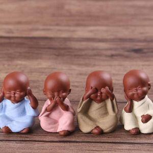 Small Buddha Statue Monk Purple Clay Tea Pet Figurine Crafts H_CI