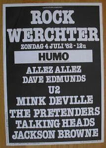 U2 U2 TALKING HEADS PRETENDERS original concert poster '82 rock werchter