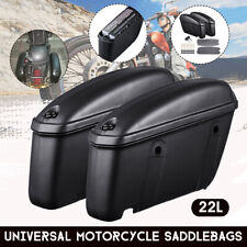 Left &Right 22L Motorcycle Side Hard Saddlebag Luggage Trunk Pannier ABS + Metal