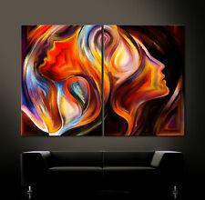 YOU IN MY MIND Leinwand Bild Schwarz Weiß Rot Blau Kunstdruck Abstrakt Modern XL
