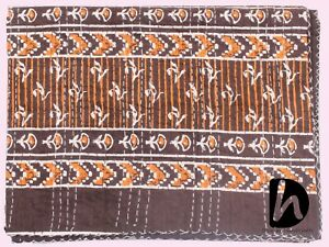 Queen Size Indian Bedspread Kantha Quilt Handmade Bedcover Brown Color Coverlet