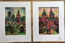 2 Original Pastel Painting Russian St Basil Cathedral & Old Country Church Scene