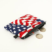 Patriotic Coin Purse American Flag Card Case Red White Stripes Blue Wallet Stars